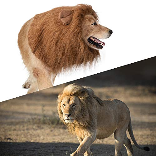 Dog Lion Mane,Funny Dog Costume,Adjustable Lion Mane for Dog Complementary Halloween Lion Costumes w - http://coolthings.us