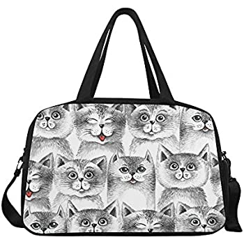 ... Amazon.com InterestPrint Cute Cats Duffel Bag Travel Tote Bag . 3cce9598ee2