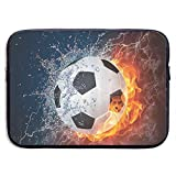 Soccer Ball On Fire and Water Flame Splashing Thunder Lightning 13-15 Inch Laptop Sleeve Bag - Tablet Clutch Carrying Case,Water Resistant, Black