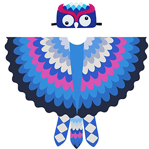 Bird Costume for Kids, Toddler Boys Girls Owl Wing Shawl with Felt Feathered Mask for $<!--$14.99-->