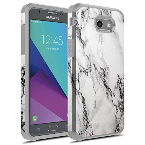 J3 Emerge Case, Galaxy J3 Prime Case, Galaxy Amp Prime 2 / Sol 2 / J3 Mission / J3 Eclipse / J3 2017 / J3 Luna Pro Case, Rosebono Hybrid Shockproof Graphic Fashion Case for SM-J327 (White Marble)