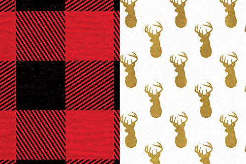 (Buffalo Plaid & Deer Rustic Woodland Lumberjack Gift Wrap Tissue Paper for All Occasions. 24-Pack Includes 12 Sheets of Each Pattern. Large 20 x 30 Squares, Red, Black, Gold, White)