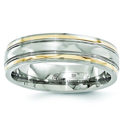 Edward Mirell Titanium and 14k Gold 6mm Miligrain Wedding Band Ring ()