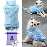 Bro'Bear Cable Knit Turtleneck Sweater for Small Dogs & Cats Knitwear (Blue - Medium)
