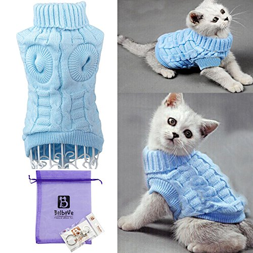 Cat Sweater Clothes - Bro'Bear Cable Knit Turtleneck Sweater for Small Dogs & Cats Knitwear (Blue, Medium)