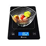 Digital Kitchen Food Scale Weight Grams Ounces for Dieting Cooking Baking-Tempered Glass-22lb 10kg Batteries Included (Elegant Black)