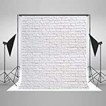 5x7ft Cotton Polyester White Brick Wall Photo Backdrop Folding and Washable No Creases Photography Studio Booth Background