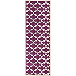 "Ottomanson Glamour Collection Contemporary Moroccan Trellis Design Runner Rug (Non-Slip) Kitchen and Bathroom Mat Rug, 20"" X 59"", Purple"