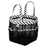SANNO Mesh Shower Totes, Quick Dry Shower Tote Bag Oxford Hanging Toiletry and Bath Organizer for Shampoo, Conditioner, Soap and Other Bathroom Accessories,Thick Black