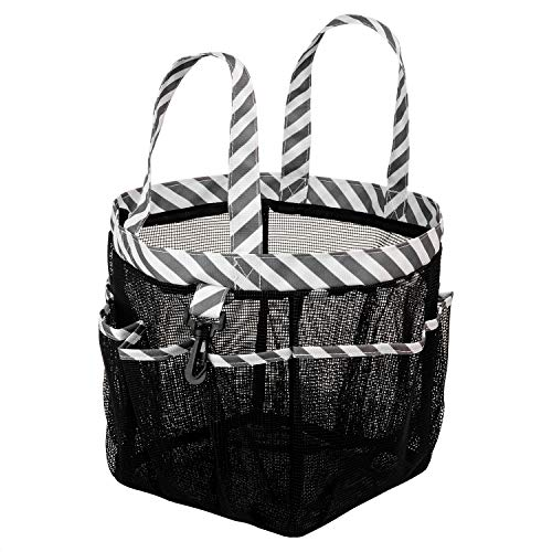 SANNO Mesh Shower Totes, Quick Dry Shower Tote Bag Oxford Hanging Toiletry and Bath Organizer for Shampoo, Conditioner, Soap and Other Bathroom Accessories,Thick Black ()