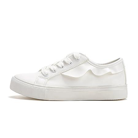 34a83e7f9a28a Tsing Yi Fashion Breathable Flat Shoes White Women Lace-up Casual ...