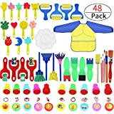 Painting Kits for Kids,Early Learning Kids Paint Set,Paint Sponges for Kids,48 Pieces Mini Flower Sponge Paint Brushes. Assorted Painting Drawing Tools in a Clear Durable Storage Pouch