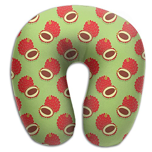 Neck Pillow Litchi Fruits Pattern Travel U-Shaped Pillow Sof