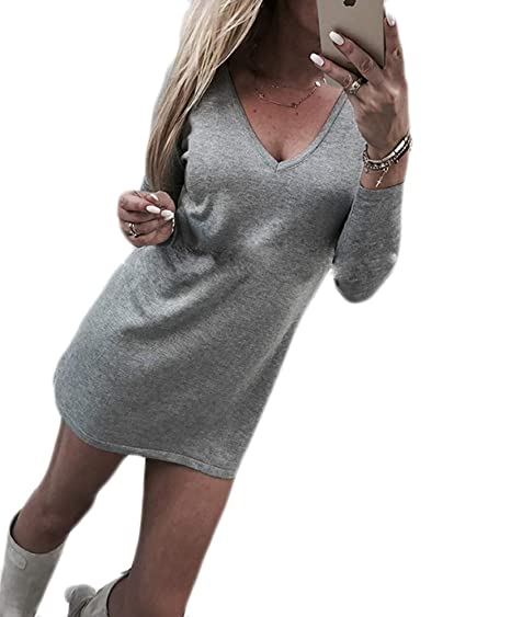 6a4c1733f337e9 Ailainniyishi Womens Casual V-Neck Long Sleeve Solid Color Loose Sweater  Dress Long Blouse Top at Amazon Women's Clothing store:
