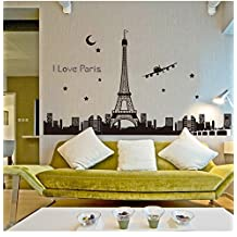 2016 NEW Eifel Tower Wall Decals Vinyl Stickers Home Decor Wall Stickers Bedroom Living Room Decoration Luminous Fluorescent Wall Papers