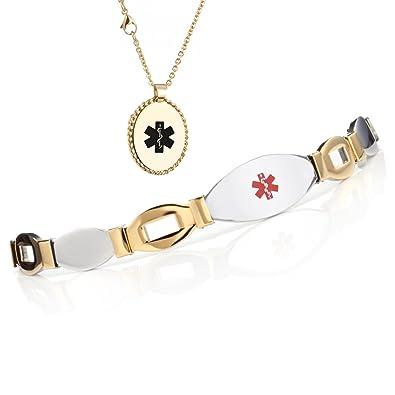 b10943991990 Tarring Medallón de Acero Inoxidable Alerta médica Pulsera + Collar Conjunto  Regalo para Mujer