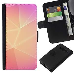 Planetar® Modelo colorido cuero carpeta tirón caso cubierta piel Holster Funda protección Samsung Galaxy Core Prime ( Polygon Yellow Pink Lines Purple Clean )