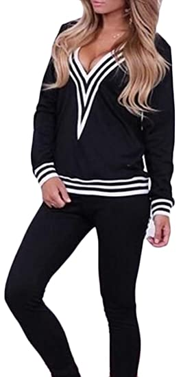33a9b96e4 XTX Women Sexy Tracksuit 2 Piece Deep V-Neck Stripes Sweatshirt Pant ...