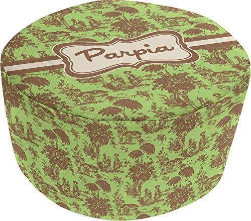 (YouCustomizeIt Green & Brown Toile Round Pouf Ottoman (Personalized))