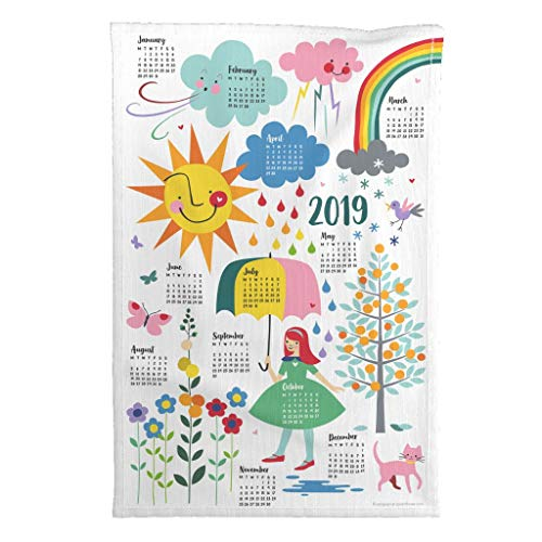 Roostery 2019 Tea Towel Calendar Weather Rainbow Cloud Cat by Cerigwen Special Edition Linen Cotton Tea Towel