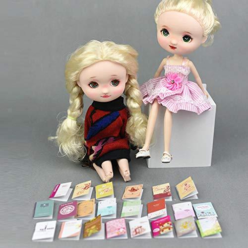 (NATFUR 1/12 Dollhouse 6pcs Mini Notebooks Model for Action Figure Doll Random Style)