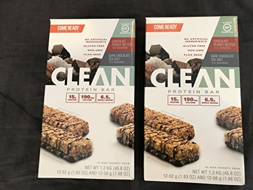 Come Ready Nutrition Clean Protein Bars (2 pack) 48 Total Bars - 24 Chocolate Sea Salt and 24 Chocolate Peanut Butter by Come Ready (Image #4)