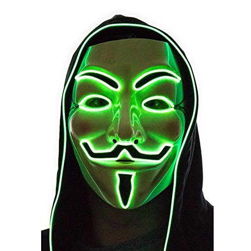 Halloween Rave Costumes Guys (Luminous EL Wire Glowing LED Mask V for Vendetta Guy Christmas Halloween DJ Birthday Costume Cosplay Props El Light-Up LED Costume Mask V (Green))