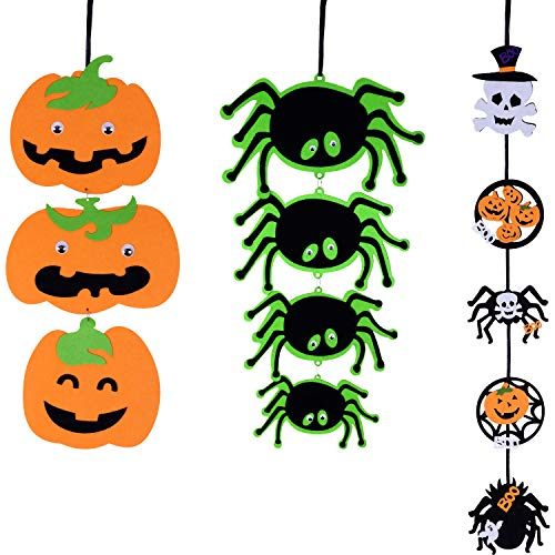 Jovitec Non-Woven Pumpkin Hanging Bunting with Spider String