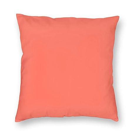 MrRui Fundas De Almohada Cuadrada Coral Solid Color ...