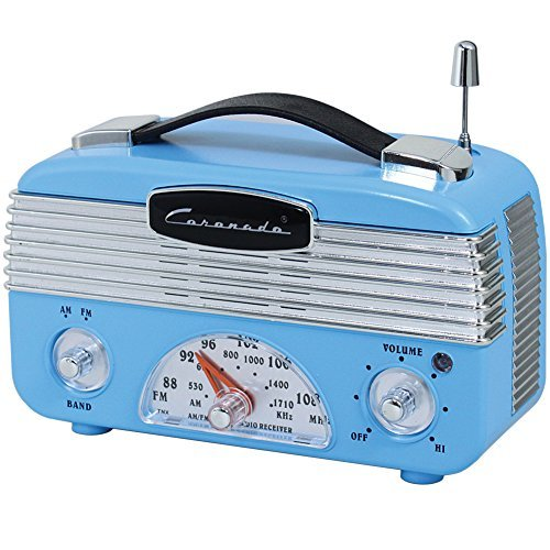 Coronado Vintage Style Retro Blue AM/FM Portable Radio w/Leatherette Handle by Style Asia