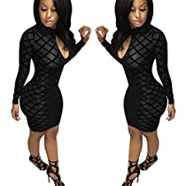 Gotd Womens Bodycon Dress CROSS Party Evening Mini Dress (S, Black)