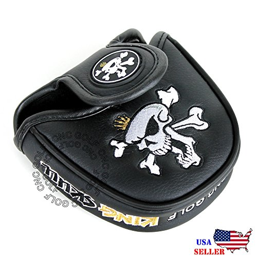 King Skull Black MALLET Putter Cover Headcover For Scotty Cameron Taylormade Odyssey 2ball