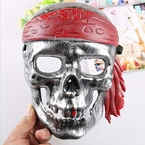 GYP@ Pirate Skull Mask Halloween Horror Plastic Face Mask for Adults Cosplay Costume Accessory Halloween Carnival Party Decoration,White