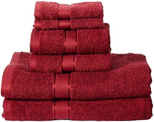 AmazonBasics – Set di 2 asciugamani da bagno,2 asciugamani per le mani e 2 asciguamani da bidet che non sbiadiscono, colore Rosso