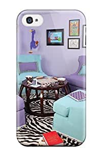 Cute High Quality Iphone 4/4s Bright And Fun Girls Bedroom With Purple Walls Blue And Purple Chairs With Game Table And Zebra Rug Case
