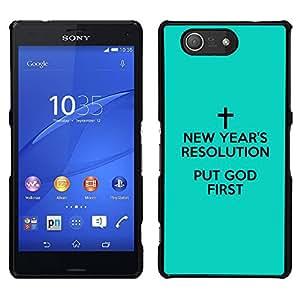 LECELL--Funda protectora / Cubierta / Piel For Sony Xperia Z3 Compact -- BIBLIA poner a Dios primero --