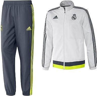 adidas Real Pr Suit YC - Chándal para niño, Color Blanco/Gris/Lima, Talla 176: Amazon.es: Zapatos y complementos