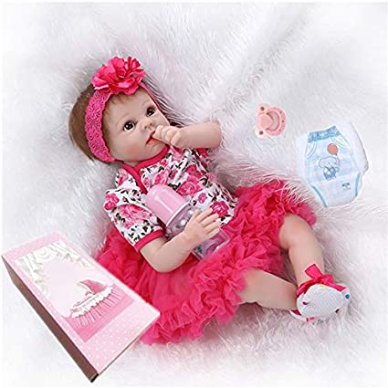 "77a7ce61fcbd8 Image Unavailable. Image not available for. Color: NPKDOLL Reborn Baby  Dolls Girl 22"" Cute Realistic Soft Silicone Vinyl ..."