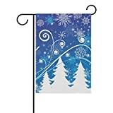 My Daily Christmas Tree And Snowflakes Decorative Double Sided House Flag 28 x 40 inch