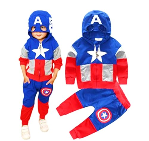 Hoodie and Pants Superhero Set (1-2 Years, Captain -