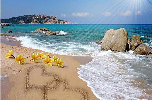 Weaeo 3D壁紙カスタム壁画不織3Dルーム壁紙3D海辺の風景ダブル愛の壁画3Dの写真壁紙-400X280Cm