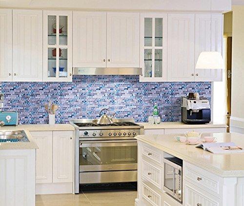 Home Building Glass Tile Kitchen Backsplash Idea Bath Shower Wall Decor Blue Gray Wave Marble Interlocking Pattern Art Mosaics TSTMGT002 (1 Sample [4''x12''])