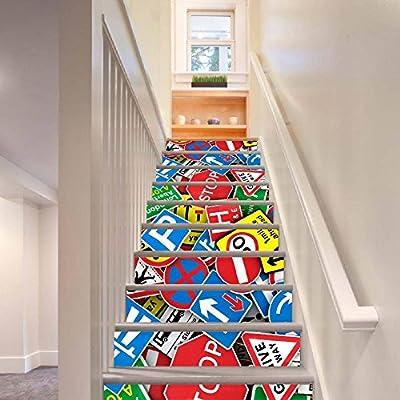 KKYLOVEJ 3D Escaleras Pegatinas Mural Creativo Señal de tráfico ...