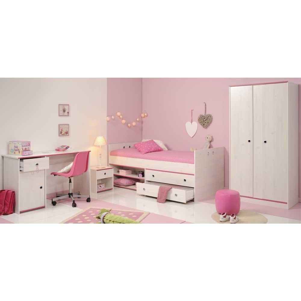 Pharao24 Jugendzimmermöbel Set mit Schreibtisch Weiß Pink