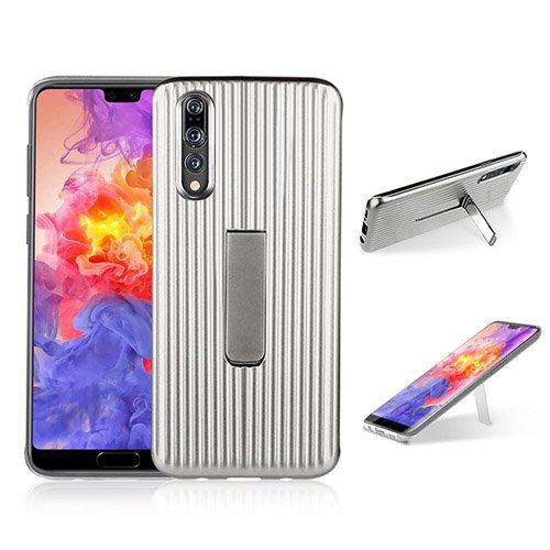 (For Huawei P20 Pro Case, HengJun TPU+PC Drawbar Horizontal Vertical Creative Design 2in1 Stand Bracket Seismic Anti-shock Double Protective Case Cover for Huawei P20 Pro - Silver)