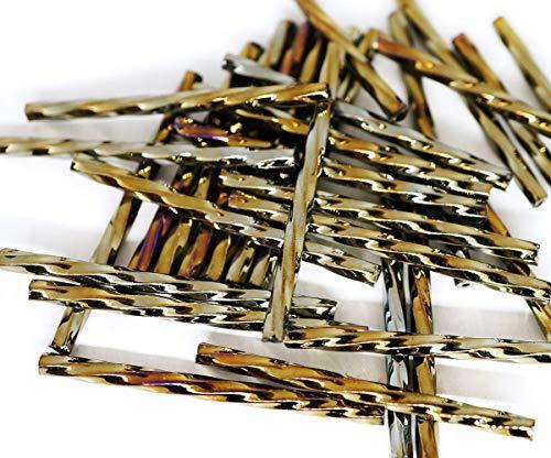 50pcs x 35mm Extra Long Iris Bronze Metallic Twisted Round Czech Glass Bugle Beads PRECIOSA Tubes ()
