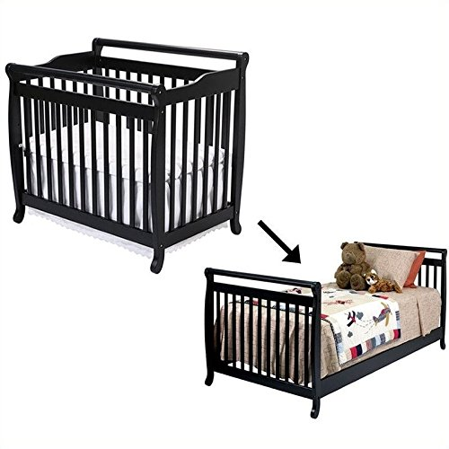 DaVinci Emily Mini 2-in-1Convertible Wood Baby Crib Set With Bed Rail in Ebony
