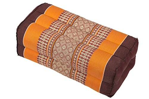 Meditation Cushion & Yoga Prop, 100% Kapok (Orange & Brown). By Kapok-Dreams.