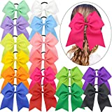 """Qtgirl 16Pcs 7"""" Girls Big Cheer Bows Large Cheerleading Hair Bow With Elastic Tie for Woman and High School Teenager in Sport"""