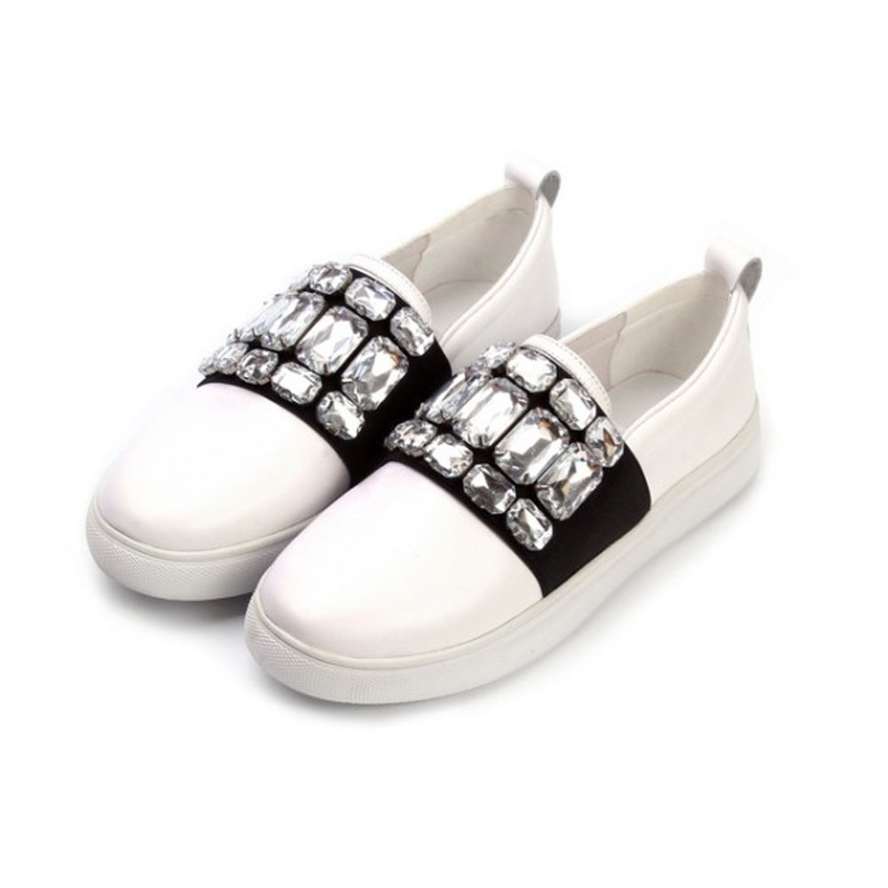 Crystal White Leather Women's Fashion Sneaker Rhinestone Round Toe Sparkle Shoes | Causal Flat Slip-On Loafers for Girls Cattlehide Upper Hogskin Lining | Handmade Low-Top CUTE-TO-THE-CORE CY00460